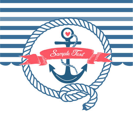 beach buoy: Cute Nautical Background with anchor, rope, flag and a heart