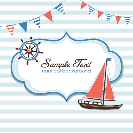 Summer is here! Nautical card  Vettoriali