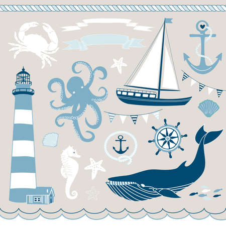Decorative Nautical and Sea Set,maritime illustrations  Vector