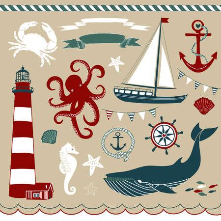 azul marino: Náutico y decorativo conjunto de Mar, ilustraciones marítimas