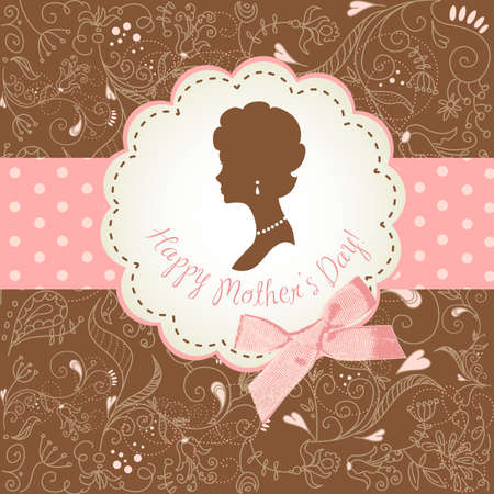 retro: Mothers day card. Cute vintage frames with ladies silhouettes