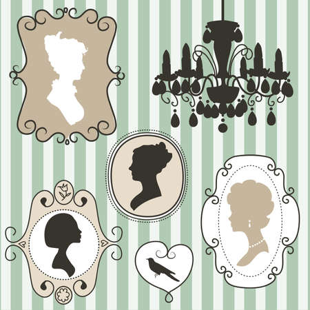 vintage portrait: Cute vintage frames with ladies silhouettes