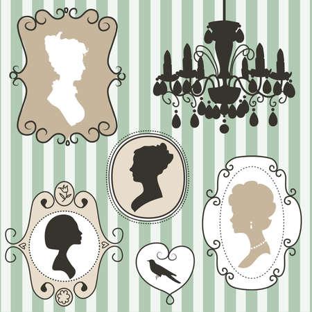 Leuke vintage frames met dames silhouetten Stock Illustratie