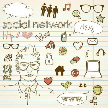 Social media network connection doodles Illustration