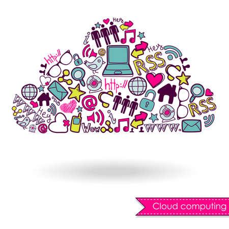 Cloud computing concept en social media Stock Illustratie