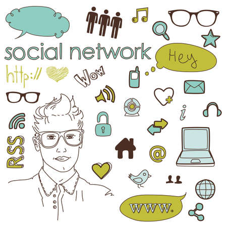 Social media network connection doodles  Stock Vector - 14255062
