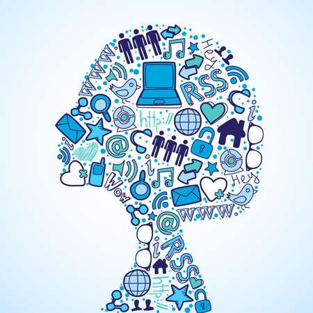 ソーシャル メディアのアイコンを設定で作られた女性のヘッド シルエット。  イラスト・ベクター素材