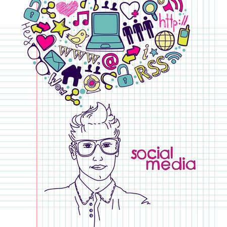 Garabatos de redes sociales. Hombres guapos con burbuja de pensamiento