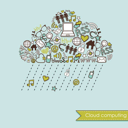 communication concept: Raining Cloud computing and social media concept. Cute Hand drawn doodles
