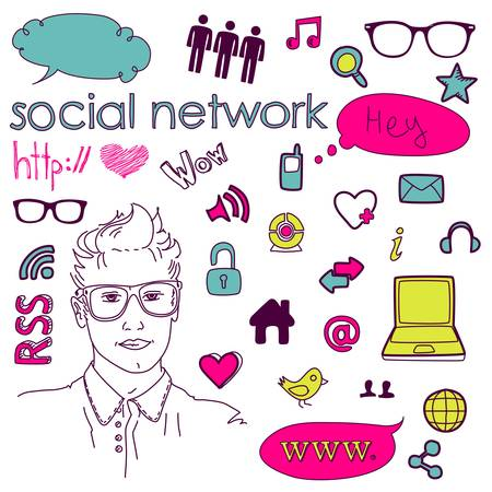 Social media network connection doodles  Vector