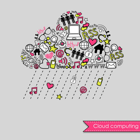 social media concept: Raining Cloud computing and social media concept. Cute Hand drawn doodles