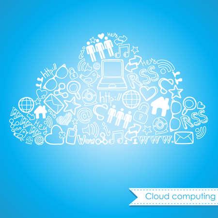 Cloud computing and social media concept. Cute Hand drawn doodles  Vector