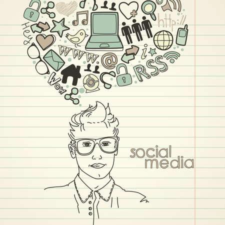 Griffonnages de réseaux sociaux. Handsome Men avec bulle de pensée Banque d'images - 14255073