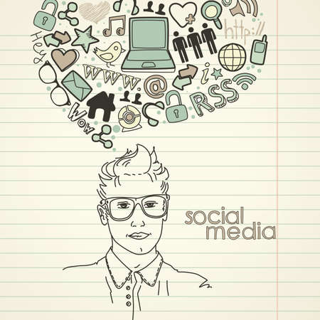 word www: Social network doodles. Handsome men with thought bubble  Illustration