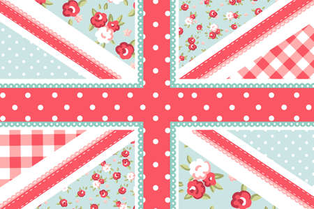 Cute British Flag in Shabby Chic floral style Stock Illustratie