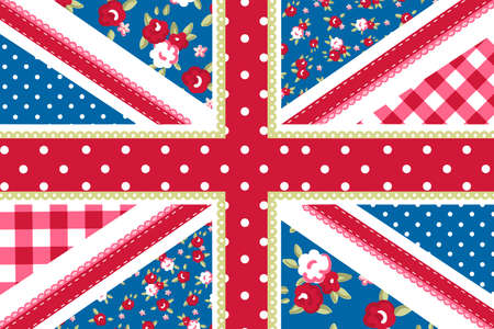 kingdoms: Cute British Flag in Shabby Chic floral style Illustration