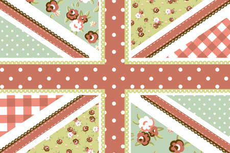 Cute British Flag in Shabby Chic floral style  Vector