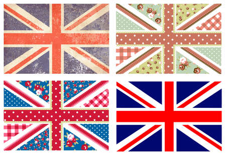 4 Cute British Flags in Shabby Chic floral and vintage style  Vettoriali