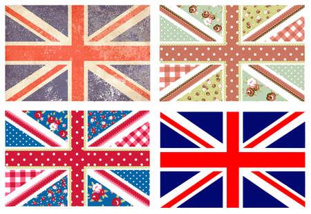 gewerkschaft: 4 nett Britische Flaggen in Shabby Chic Blumen-und Vintage-Stil Illustration