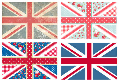 distressed: 4 Cute British Flags in Shabby Chic floral and vintage style  Illustration