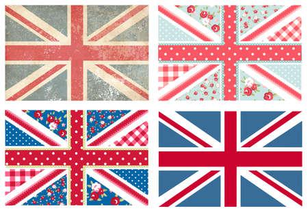 drapeau anglais: 4 mignons de drapeaux britanniques en miteux style floral et vintage chic Illustration
