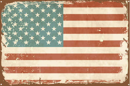 Vintage style American Flag on the tin sign Vector