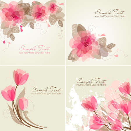 Set of 4 Romantic Flower Backgrounds in pink and white colours. Ideal for Wedding invitation, birthday card or mothers day card  Ilustração