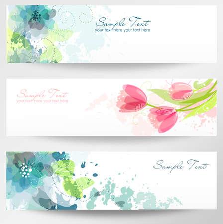 orchids: Set di tre bandiere. Bella intestazioni floreali Vettoriali