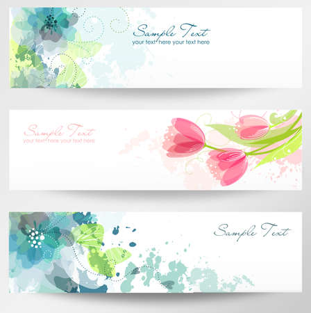 Set of three banners. Beautiful floral headers Vector
