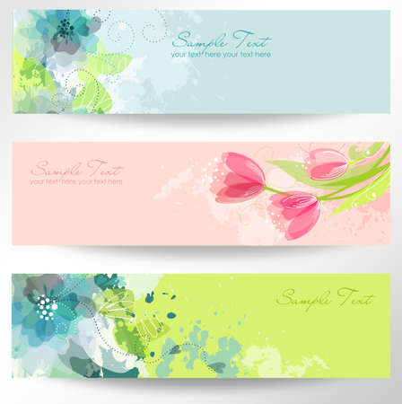 watercolor flower: Set of three banners. Beautiful floral headers