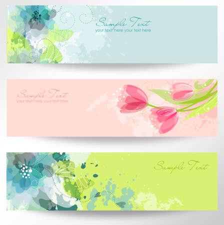 Set von drei Bannern. Schöne Blumen-Header Standard-Bild - 14255142