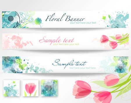 Ensemble de trois bannières. Belles têtes florales Banque d'images - 14255177