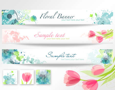 header label: Set of three banners. Beautiful floral headers