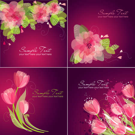 postcard: Set of 4 Romantic Flower Backgrounds in pink and white colours. Ideal for Wedding invitation, birthday card or mothers day card  Illustration