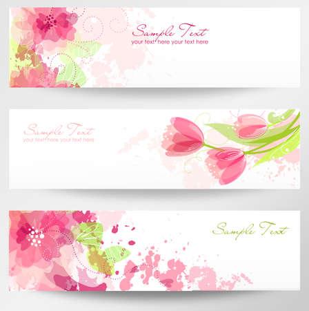 Set van drie banners. Mooie bloemen headers