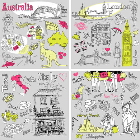bridge in nature: Italy, England, Australia, USA - four wonderful collections of hand drawn doodles