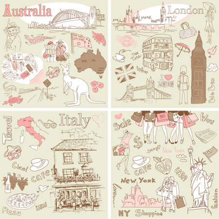 Italy, England, Australia, USA - four wonderful collections of hand drawn doodles Stok Fotoğraf - 14255163