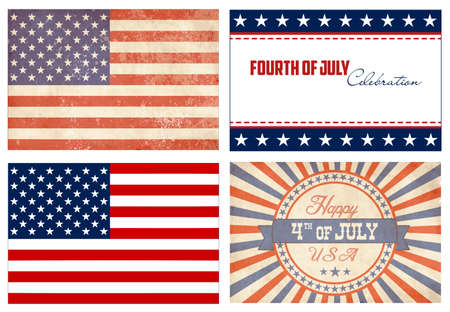 american history: American Set. 2 types of flags and 2 Independance day cards
