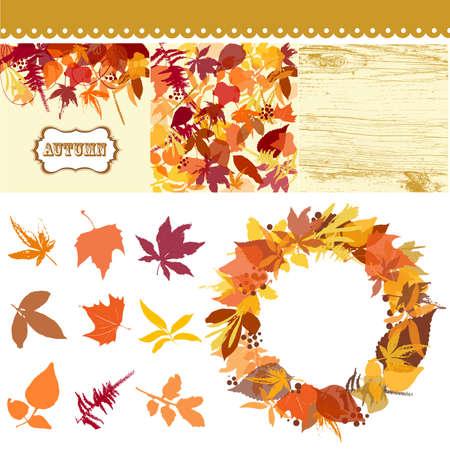 Autumn leaves ingesteld, verlaat clip art, herfst achtergronden, wodden patroon en een beautful krans