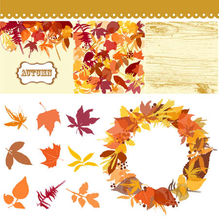 Autumn leaves set, leaves clip art, fall backgrounds, wodden pattern and a beautful wreath Vector