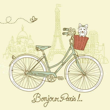 cartoline vittoriane: In sella a una moto in stile, romantica cartolina da Parigi Vettoriali