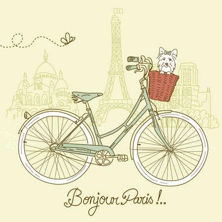 Rouler à vélo dans le style, carte postale romantique de Paris