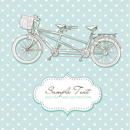 fahrradrennen: Tandem-Fahrrad Hochzeits-Einladung mit Tupfenhintergrund Illustration