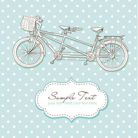 fiets: Tandem fiets Uitnodiging van het Huwelijk met polka dot achtergrond Stock Illustratie