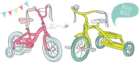 retro bicycle: Ni�os bicicletas, una bicicleta ni�as y un triciclo Vectores