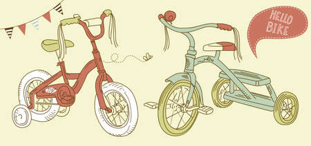 training wheels: Kids bicycles, a girls bike and a tricycle