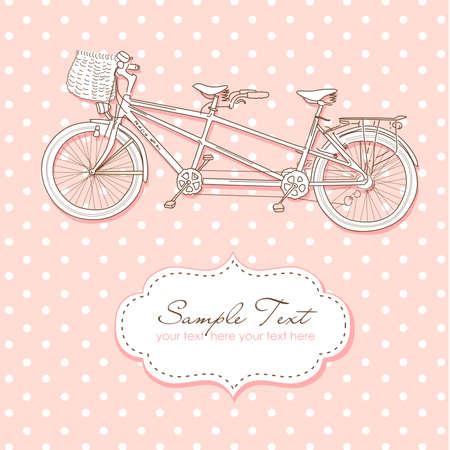 encantador: Convite do casamento em tandem da bicicleta com fundo das bolinhas