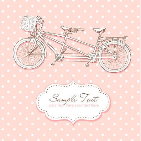 victorian valentine: Tandem Bicycle Wedding Invitation with polka dot background