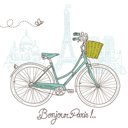 Riding a bike in style, Romantic postcard from Paris Stock Vector - 15158629