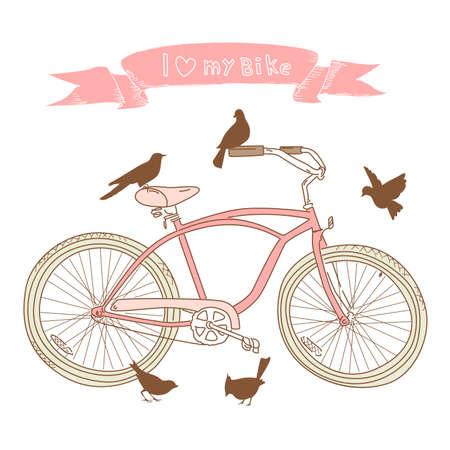 fork road: I coraz�n mi bici! Una bicicleta dibujada a mano y aves